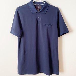 Black Brown 1826 Men's Blue Polo Shirt, size Small